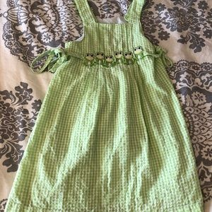 Girls 3T Green/White Checkered Dress with Frogs